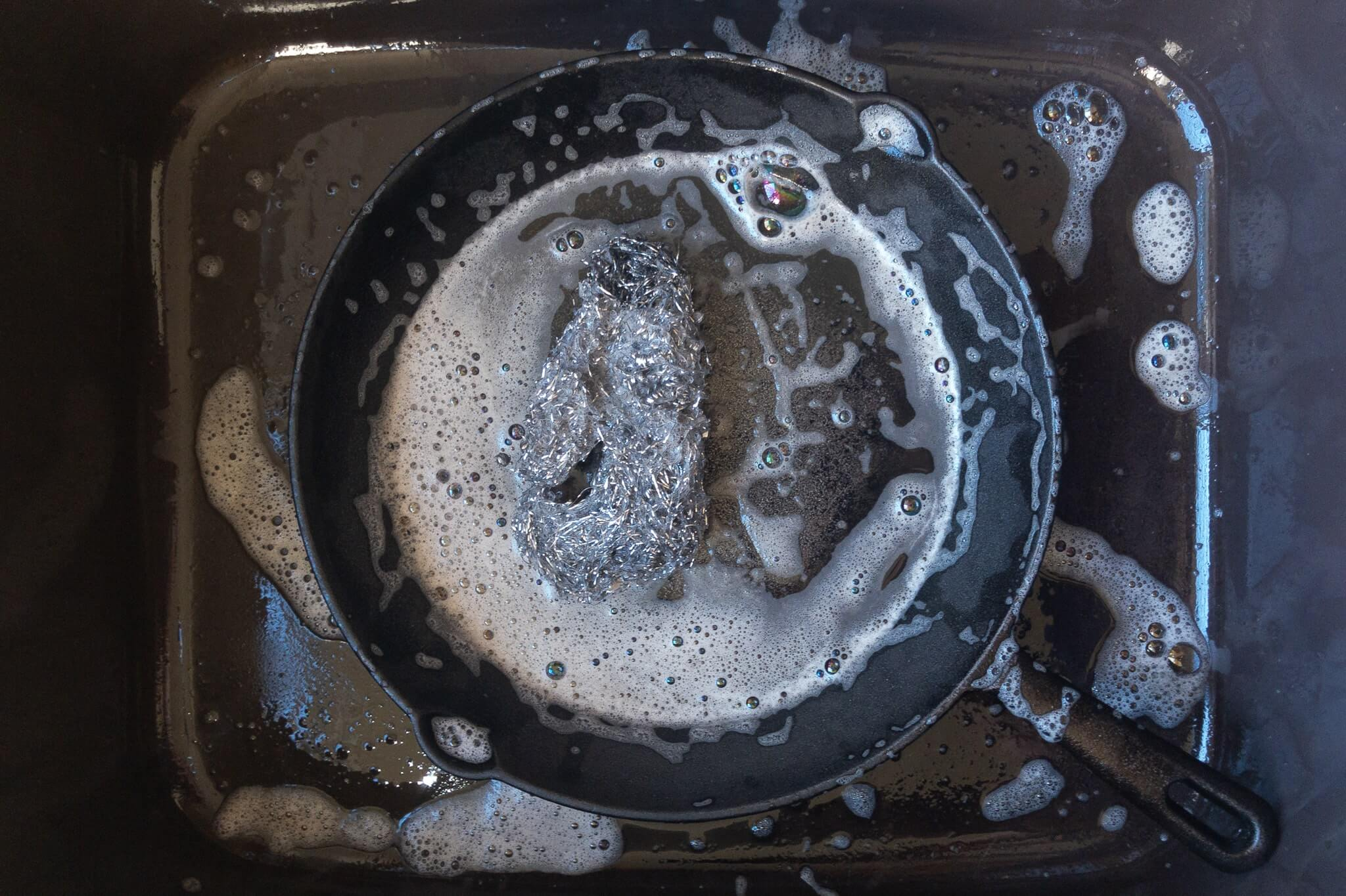 A scrubbed cast iron pan