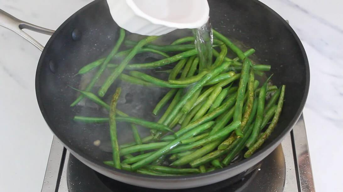 Steaming veggies in a non-stick frying pan